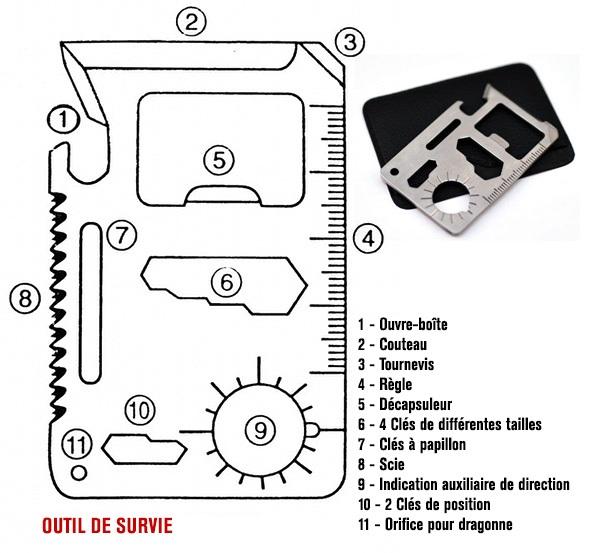 11 Outils de survie multifonction gris carte compact