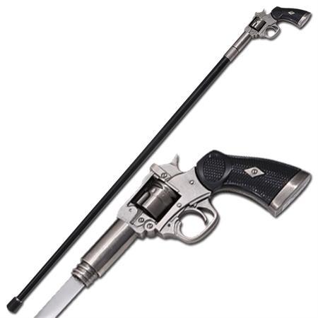 Canne épée 95cm marche - Design revolver cow-boy