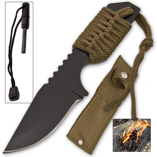 Couteau survie 18cm + pierre allume feu