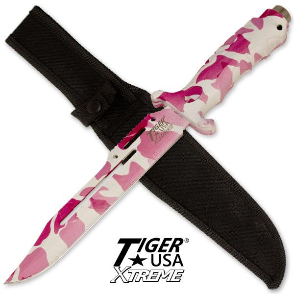 Poignard Tiger USA 33,5cm - couteau pink camo