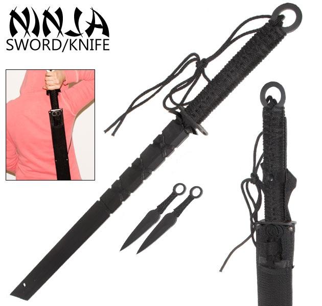 Katana Ninja 69cm + 2 kunais + étui - épée tanto