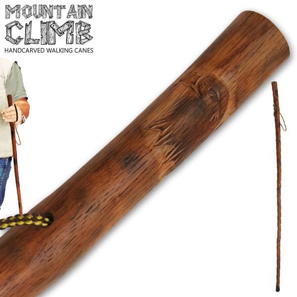 Canne de marche 140cm Aigle - bois gravé verni