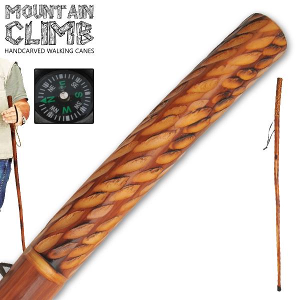 Canne de marche 140cm boussole - bois gravé vernis