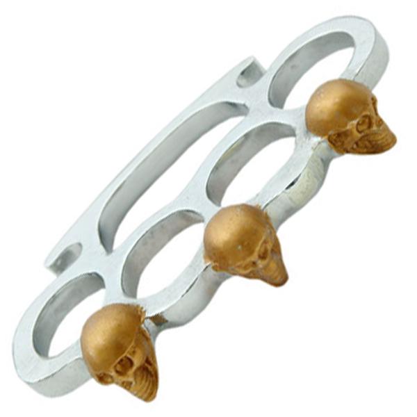 Poing américain acier argenté doré - squelette
