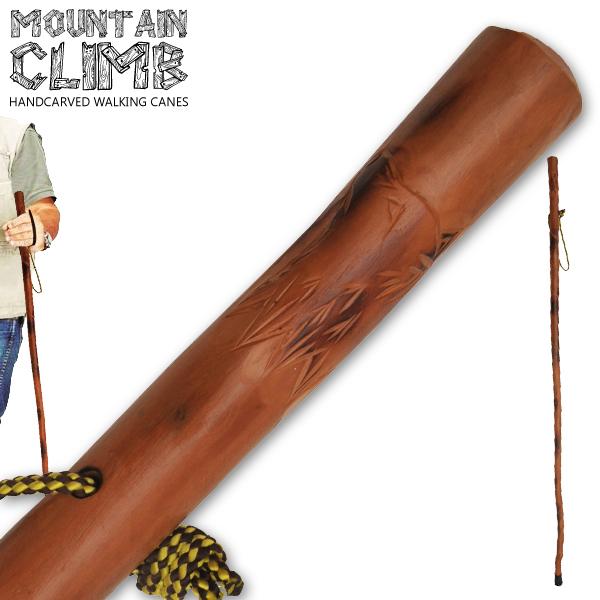 Canne de marche 140cm Loup - bois gravé vernis2