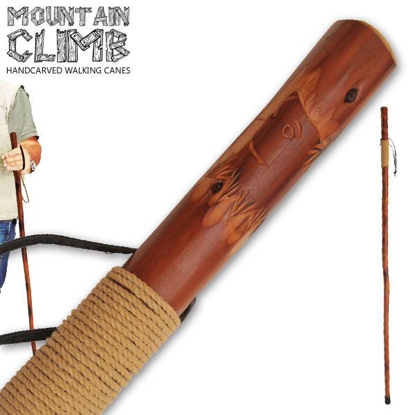 Canne de marche 140cm - bois gravé vernis confort