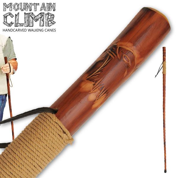Canne de marche 140cm - bois gravé vernis confort2