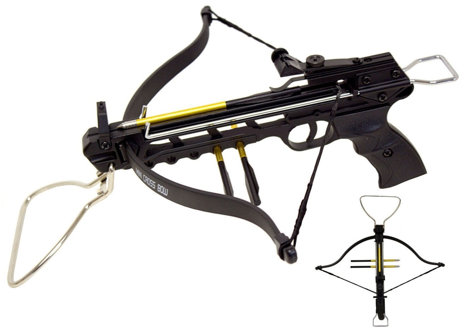 Arbalète pistolet 80 lbs + 3 flèches alu