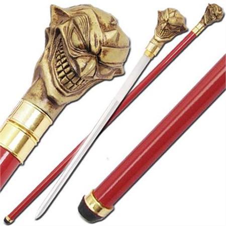Canne épée 91cm Joker de marche - rouge et dorée