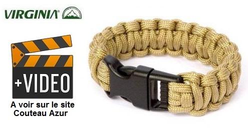 Bracelet en paracorde de survie, ultra-résistant - désert