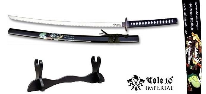 Katana Samouraï 103cm + socle bois - Impérial