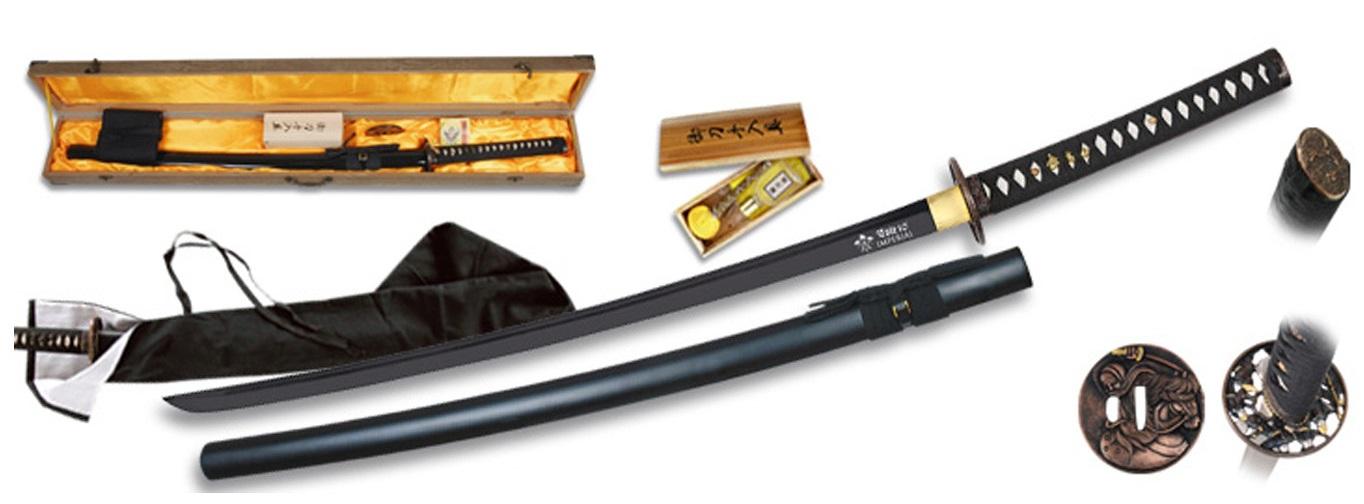 Coffret katana 104cm lame en carbone - support présentation
