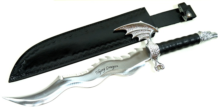 Dague de collection dragon acier - Arme 55cm