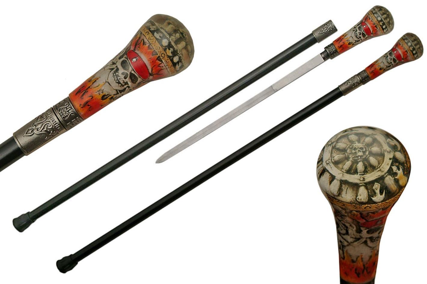 Canne épée 90,5cm de marche - Pirate Squelette