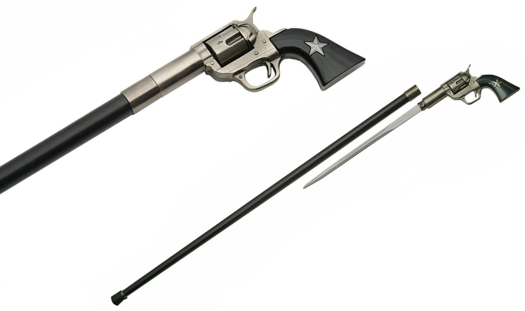 Canne épée 97cm de marche - métal revolver Shérif