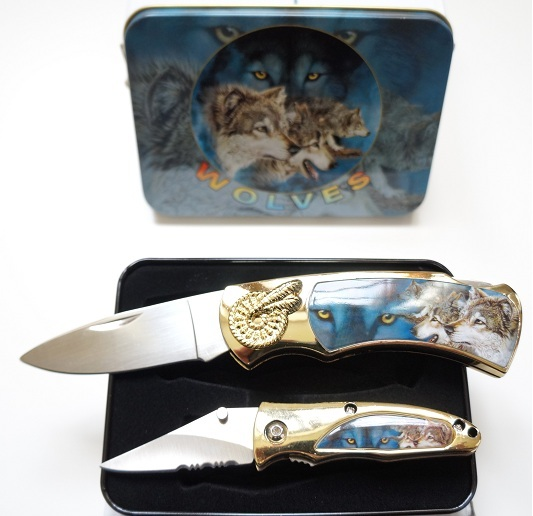 Coffret acier + 2 couteaux pliants - Couteau loup