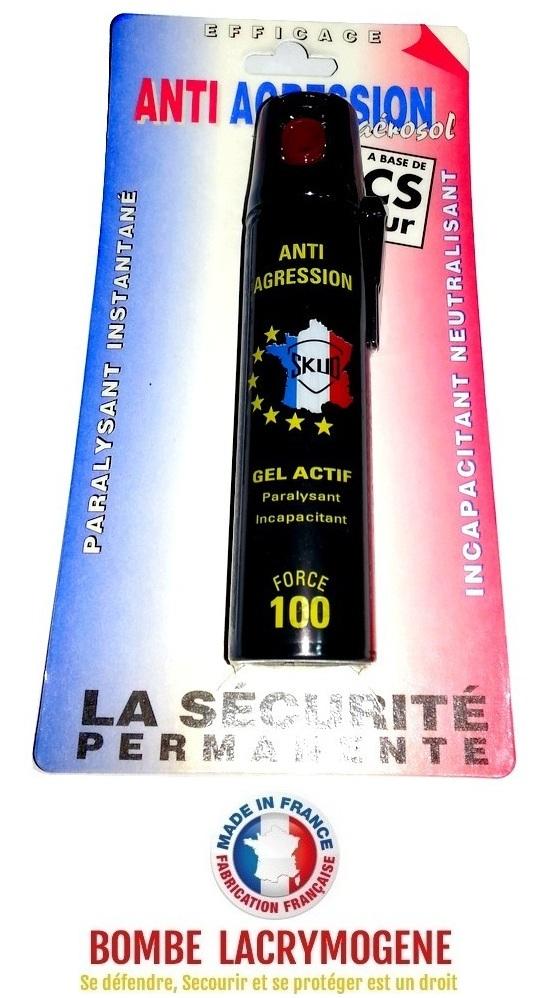 Bombe lacrymogène 75ml GEL ACTIF - aérosol spray lacrymo