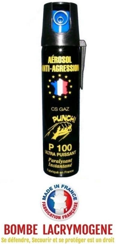 Bombe lacrymogène 75ml GAZ CS - aérosol spray lacrymo