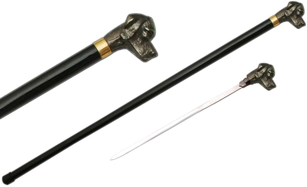 Canne épée 87cm de marche - chien dog métal