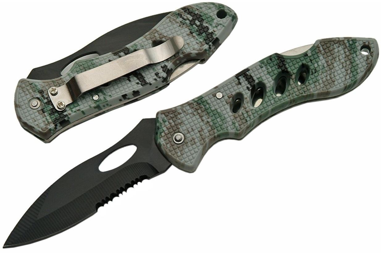 Couteau pliant camouflage 19,8cm - clip ceinture