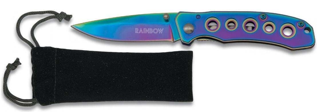 Couteau pliant titane rainbow 15,4cm + pochette