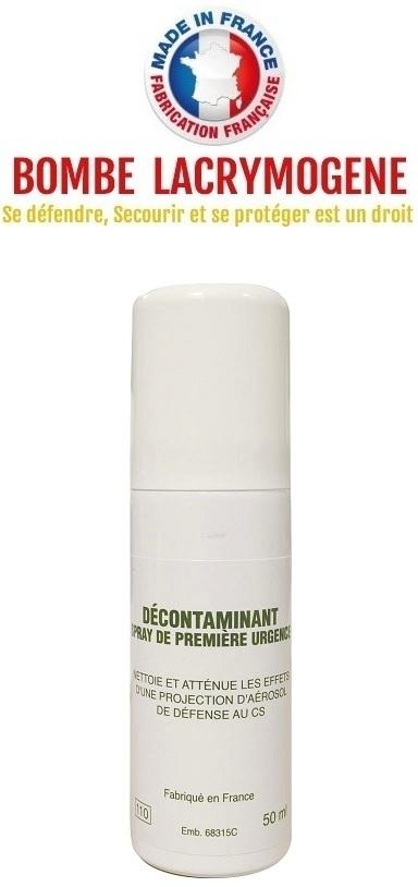 Décontaminant lacrymogène 50ml - Spray première urgence