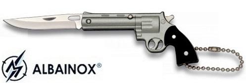Couteau porte-clé pliant 12,5cm - Revolver gris acier