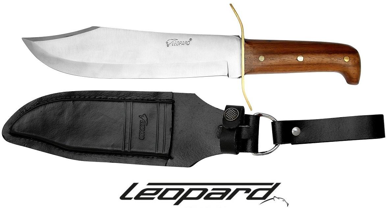 Poignard Léopard bowie 29cm chasse - bois et laiton
