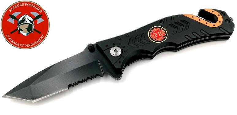 Couteau pliant 20,2cm POMPIER - design sapeur urgence
