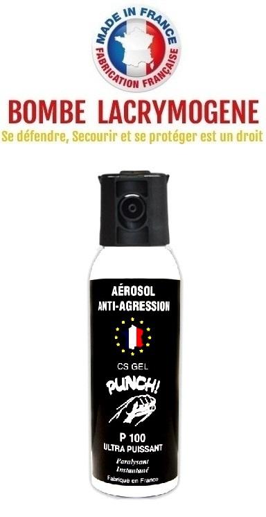 Bombe lacrymogène 100ml GEL CS - aérosol spray lacrymo