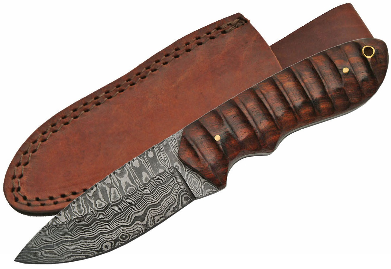 Poignard 21,2cm lame DAMAS - Couteau en bois artisanal