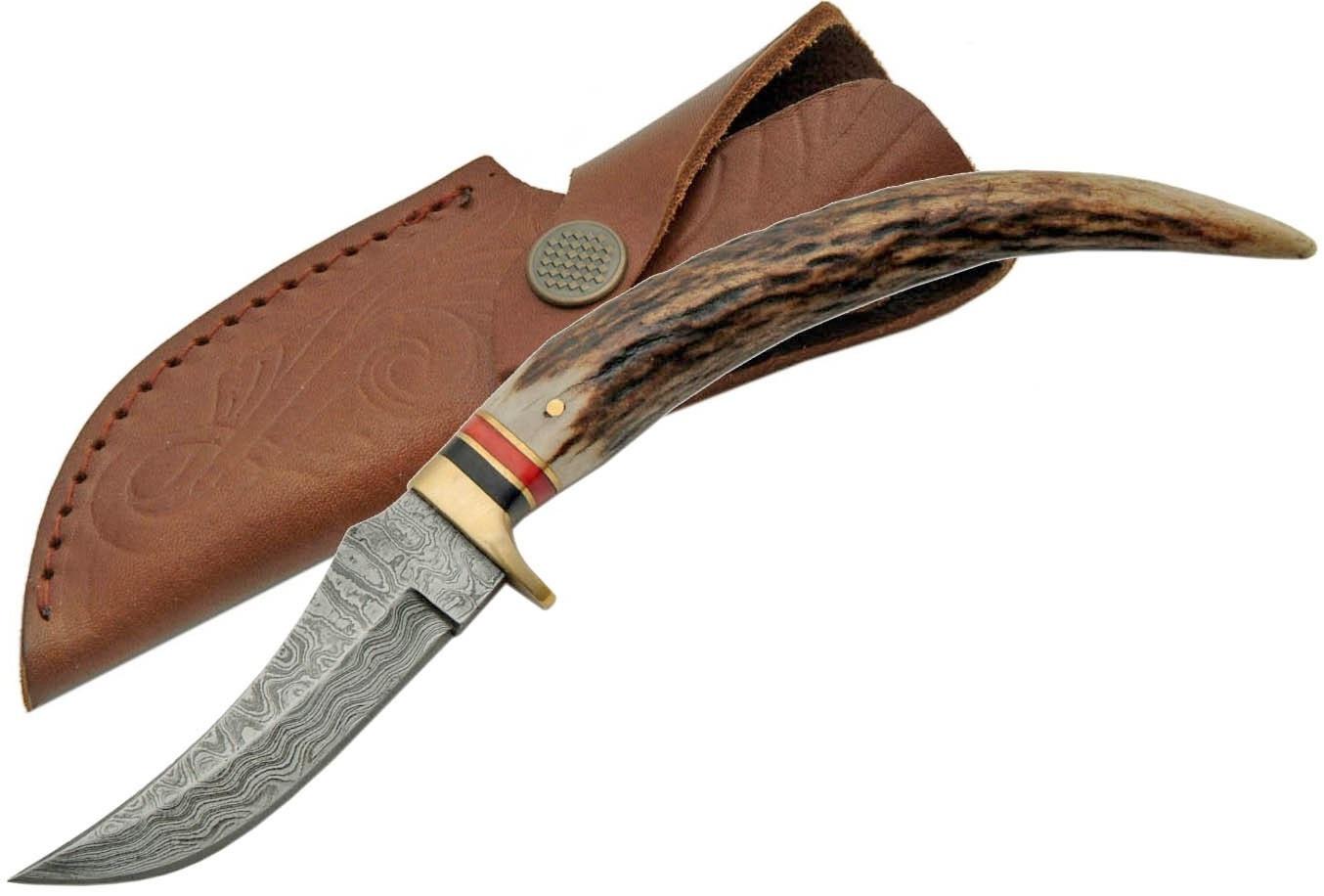 poignard 21 7cm lame damas couteau en bois de cerf. Black Bedroom Furniture Sets. Home Design Ideas