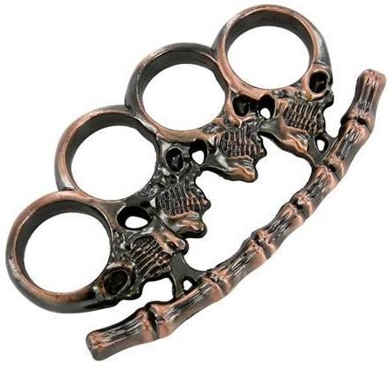 Poing américain en acier inox - Design Squelette