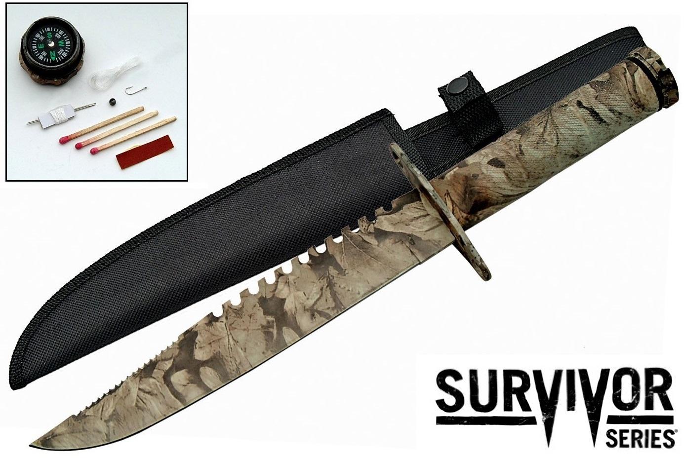 Poignard tactique militaire 37,5cm camo - inclus kit survie