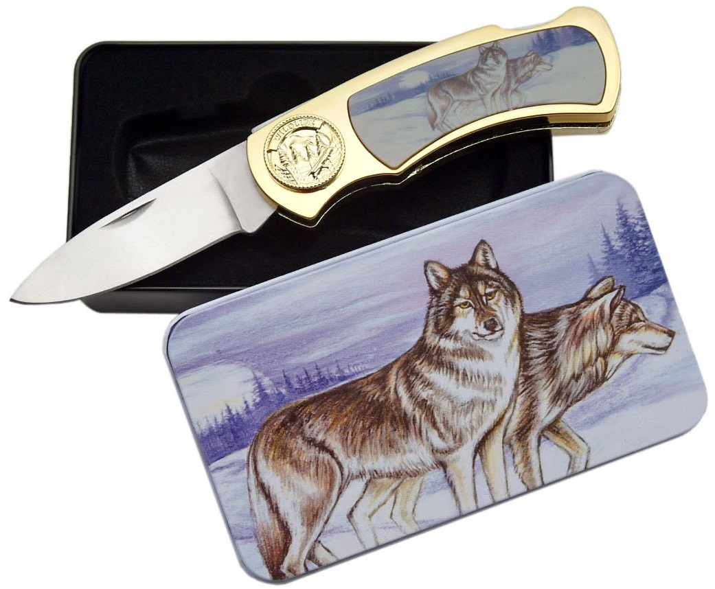 Coffret collector couteau pliant - Collection Loup
