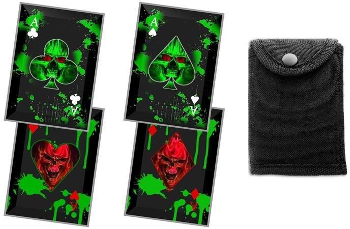 Lot 4 cartes à lancer tranchants - Carte noire squelette