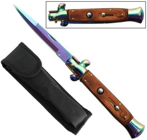 Grand couteau Italien 24cm automatique cran d\'arret - Titane