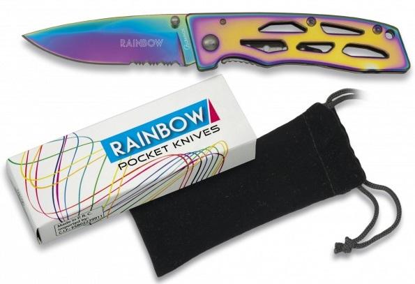 Couteau pliant titane rainbow 16,5cm + pochette