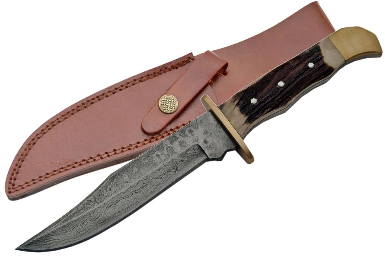 Poignard couteau 26cm lame DAMAS - Bois cerf laiton