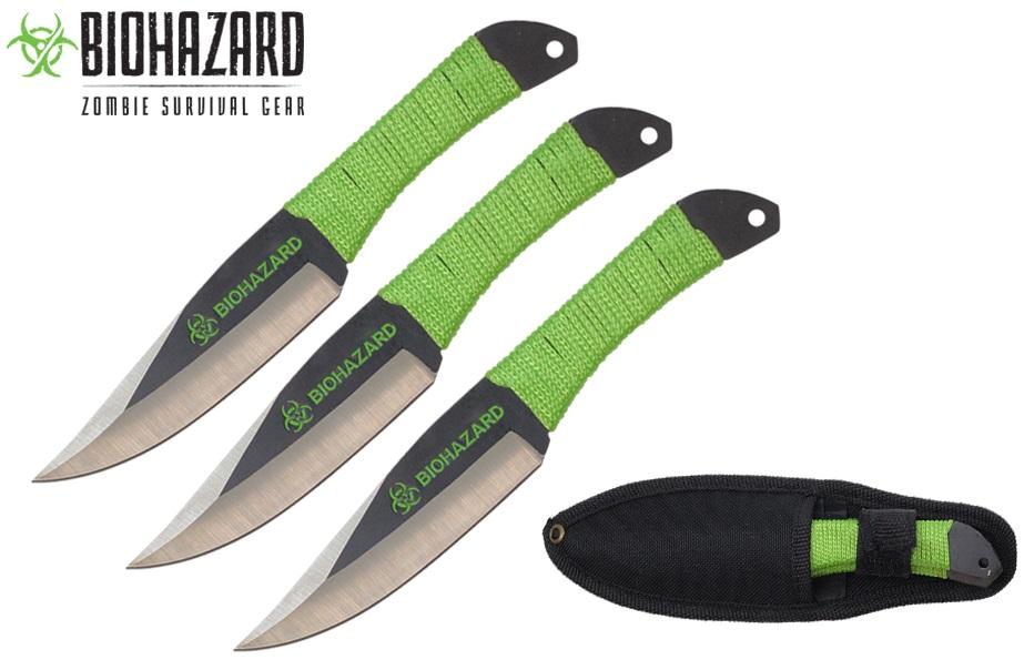3 Couteaux de lancer 17cm couteau - BIOHAZARD Zombie