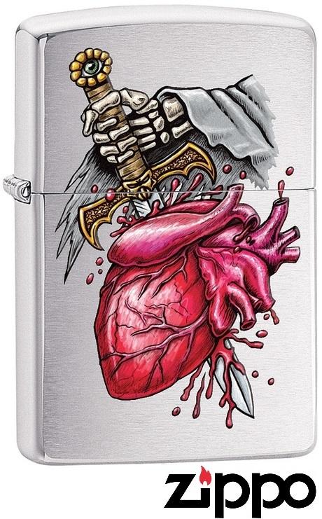 Briquet Zippo officiel - Coeur et épée squelette
