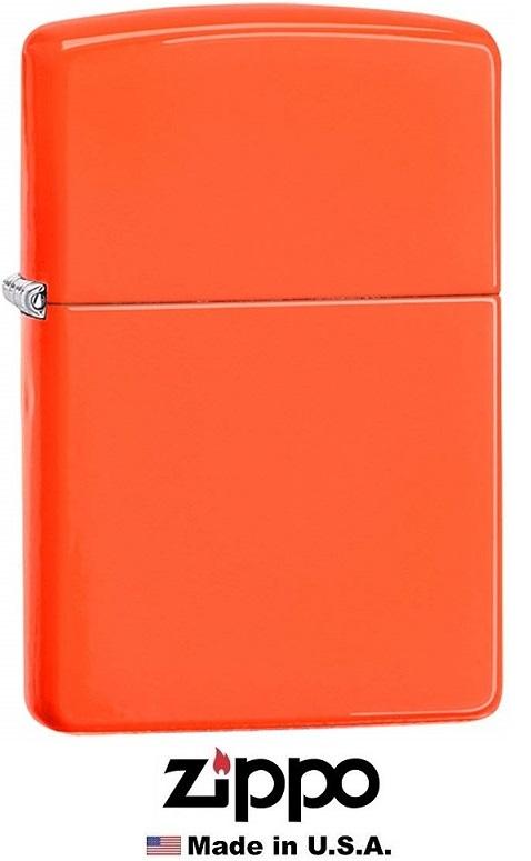 Briquet Zippo officiel - Couleur orange flashy