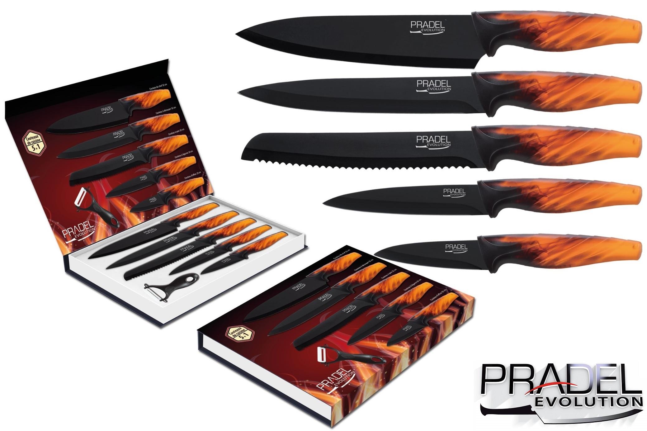 Coffret couteaux pradel couteau de cuisine table acier noir Pradel couteau cuisine