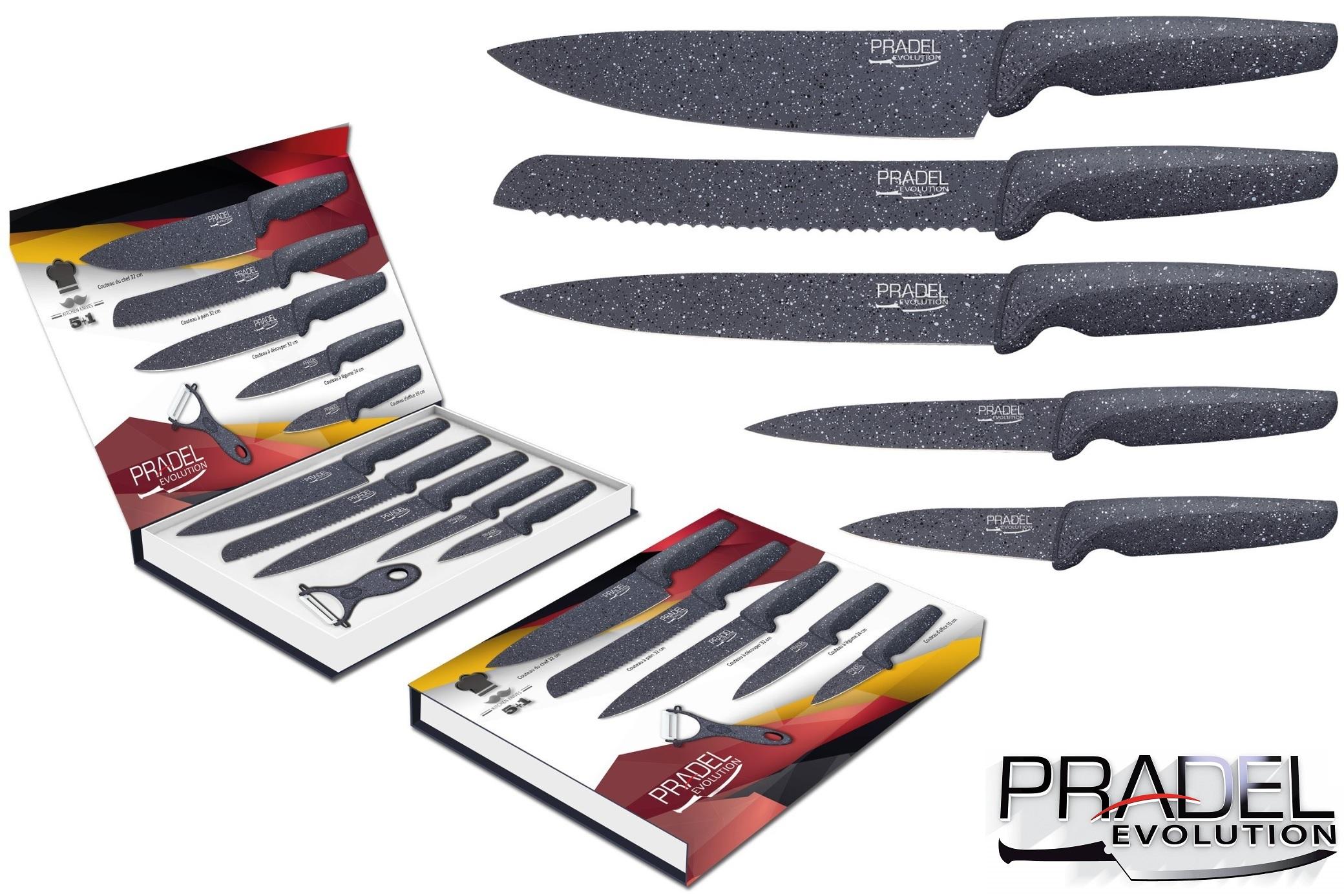 Coffret couteaux pradel couteau de cuisine table pierre grise - Coffret couteaux de cuisine ...