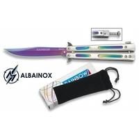 Couteau papillon balisong 21,5cm Rainbow - ALBAINOX