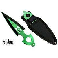 Couteau Zombie dague de lancer 16,4cm - Tout acier inox vert