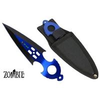 Couteau Zombie dague de lancer 16,4cm - Tout acier inox bleu