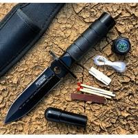 Poignard couteau compact 20,5cm tactique + kit survie
