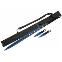 Katana ninja bleu 71cm et 2 kunaïs - épée full tang