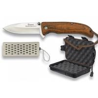 Coffret couteau pliant bois ALBAINOX + affuteur